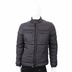 PEUTEREY 灰色絎縫小立領羽絨外套