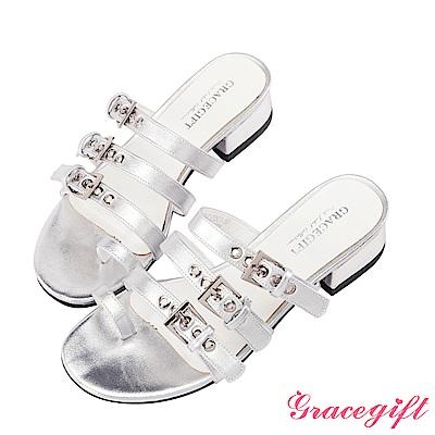 Grace gift-率性多條金屬帶釦涼拖鞋 銀