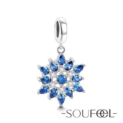 SOUFEEL索菲爾 925純銀珠飾 藍色雪花 吊飾
