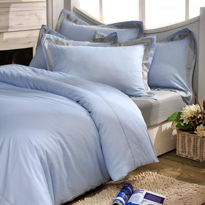 義大利La Belle 個性混搭 雙人被套床包組-水藍x淺灰
