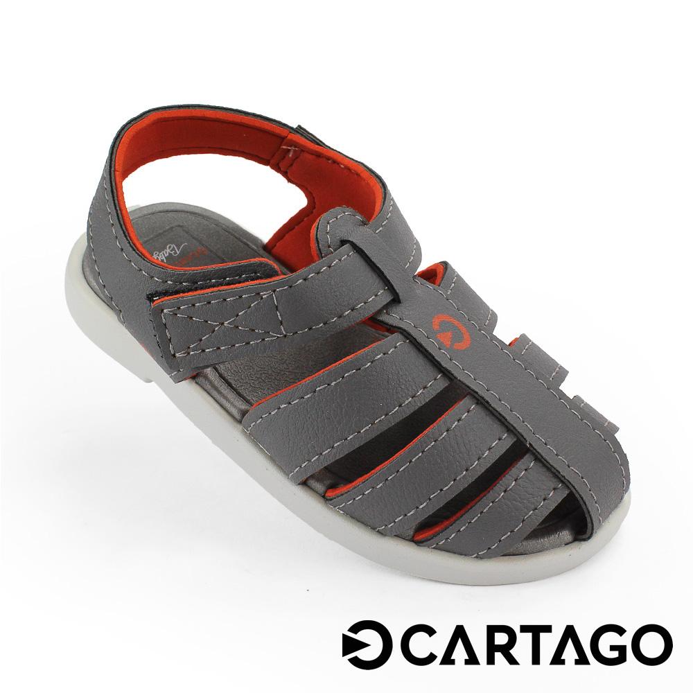 CARTAGO 幼童 PRIMEIROS 皮革涼鞋 深灰色