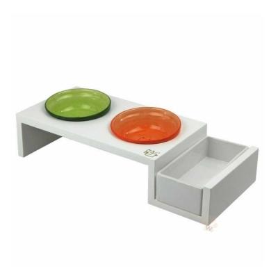 ViVi Pet 防滑實木原木碗架餐桌-平面貓草款 V-C01 (白色)