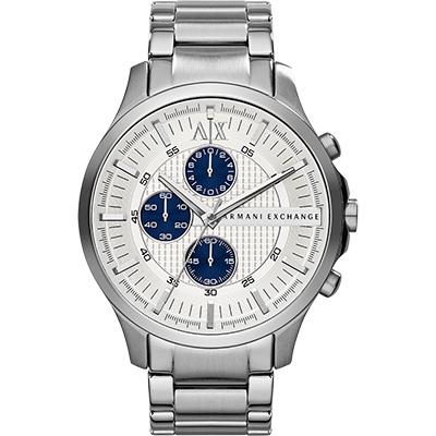 A│X Armani Exchange 都會時尚三眼計時腕錶-銀/46mm