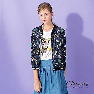 OUWEY歐薇 花草印花縷空造型外套(藍)