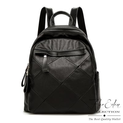DF Flor Eden - 經典黑系菱格時尚羊皮後背包