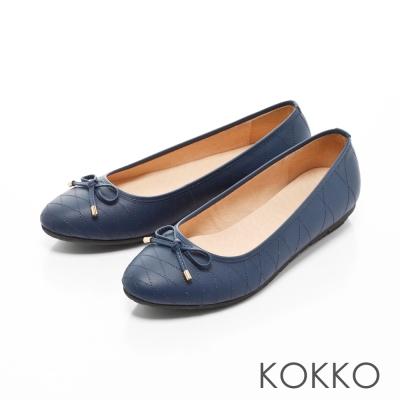 KOKKO-經典菱格紋真皮蝴蝶結平底鞋-優雅藍