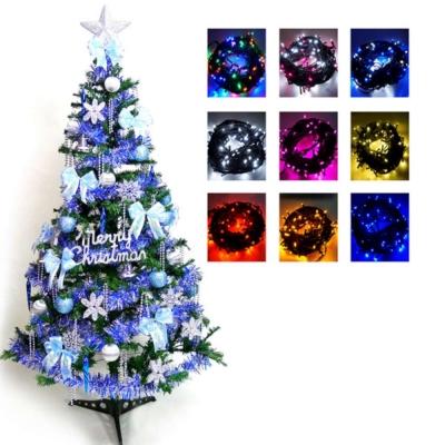 超級幸福10尺300cm一般型裝飾綠聖誕樹+藍銀色系配件組+100燈LED燈6串