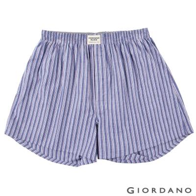 GIORDANO-男裝純棉印花平口四角褲-10-丹寧條紋