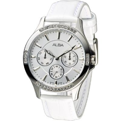 ALBA 浪漫年華全日曆三環晶鑽女錶(AP6225X1)-白/37mm