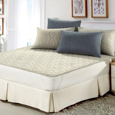 精靈工廠 雙色幸運草系列防潑水加大三件式舖棉平單保潔墊-淺灰+鐵灰