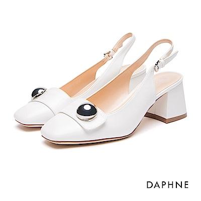 達芙妮DAPHNE 跟鞋-圓飾釦帶繞踝粗跟鞋-白