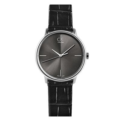 ck Accent 簡約時尚黑色皮帶腕錶-黑/32mm