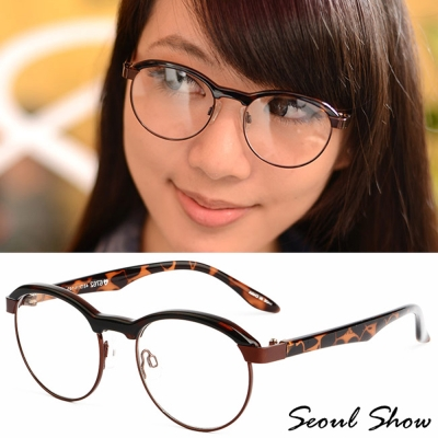 Seoul Show 復古小眉框 平光眼鏡 6762 可可豹紋
