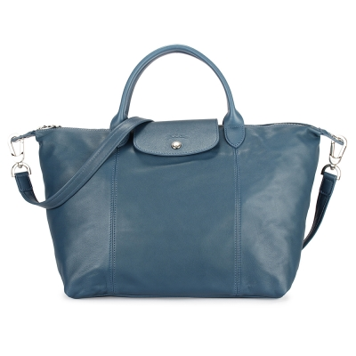 Longchamp Le Pliage Cuir小羊皮短把折疊中型水餃包-午夜藍