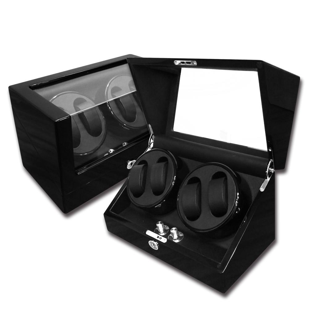 機械錶自動上鍊收藏盒 2旋4入錶座轉動 鋼琴烤漆 - 黑色