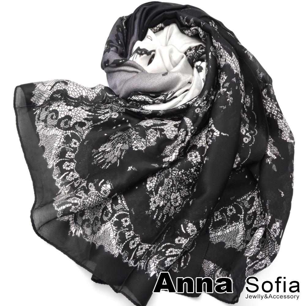 AnnaSofia漸層古典蕾絲亮緞面仿絲披肩絲巾圍巾