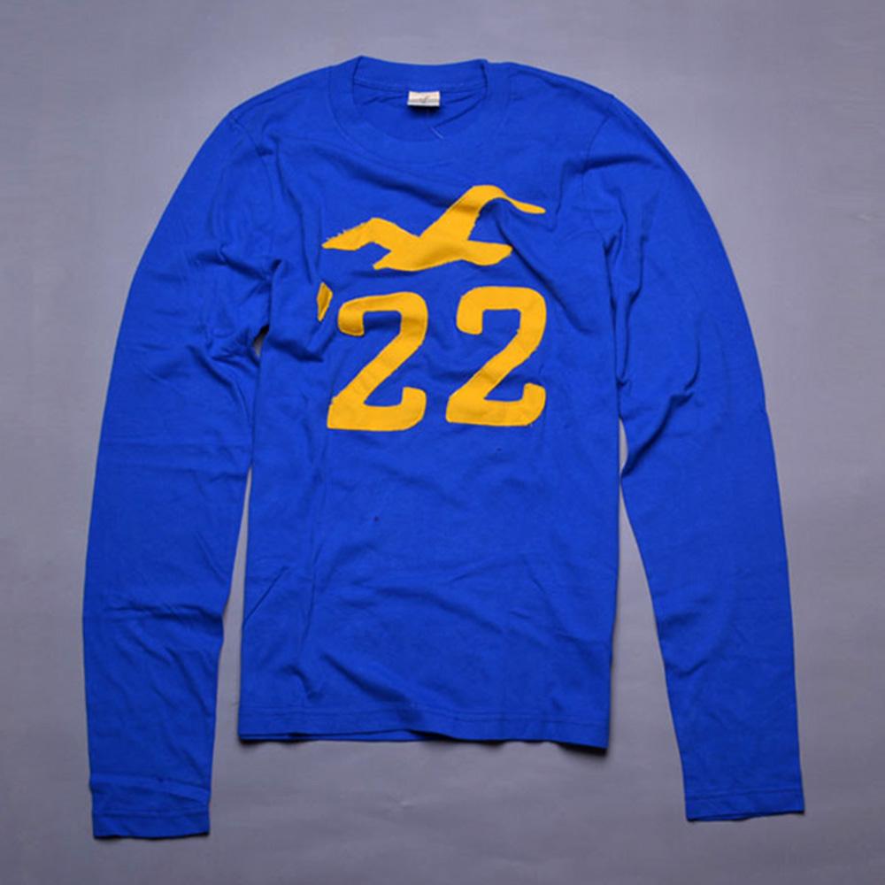 HOLLISTER Co. 仿舊海鷗數字貼布長袖T恤-藍