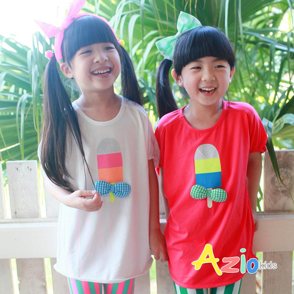 Azio Kids-三色冰棒蝴蝶結別針縮口T(桃紅)