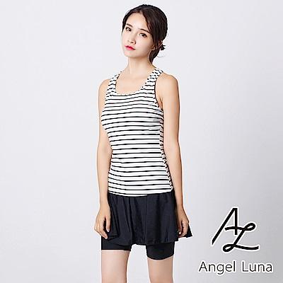 【AngelLuna日本泳裝】挖背條紋褲裙兩件式泳衣