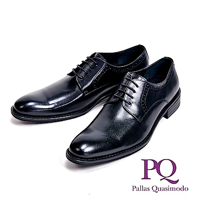 PQ 工藝壓紋時尚貴族型男皮鞋-素面黑(另有雕花黑)