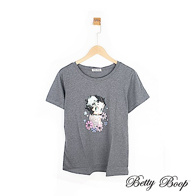 Betty Boop貝蒂 貝蒂花朵印圖柔棉上衣(共兩色)