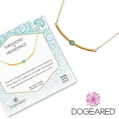 Dogeared 藍色土耳其石平衡骨項鍊 微笑平衡骨金色項鍊 附原廠盒