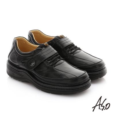 A.S.O 抗震雙核心 牛皮魔鬼氈奈米紳士鞋 黑色