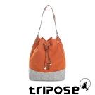 tripose 漫遊系列岩紋玩色束口水桶包 橘