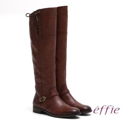 effie 城市漫遊 全真皮側邊綁帶低跟長靴 咖啡