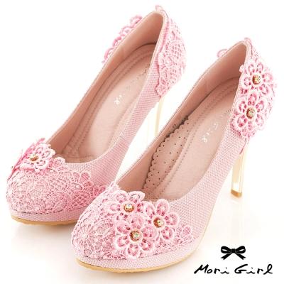 Mori girl洛可可婚禮-蕾絲綴花鑽高跟鞋 粉