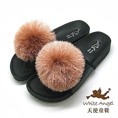 天使童鞋 好新晴蒲公英親子拖鞋(超大童)J898C-可可色