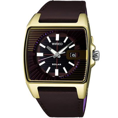WIRED-HYBRID-太陽能時尚腕錶-AUA006X1-咖啡金-33mm