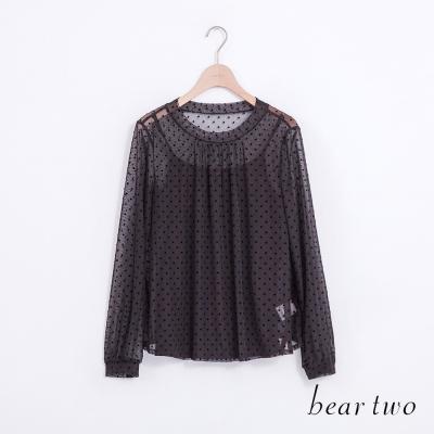 beartwo-點點網紗蕾絲兩件式上衣-黑色