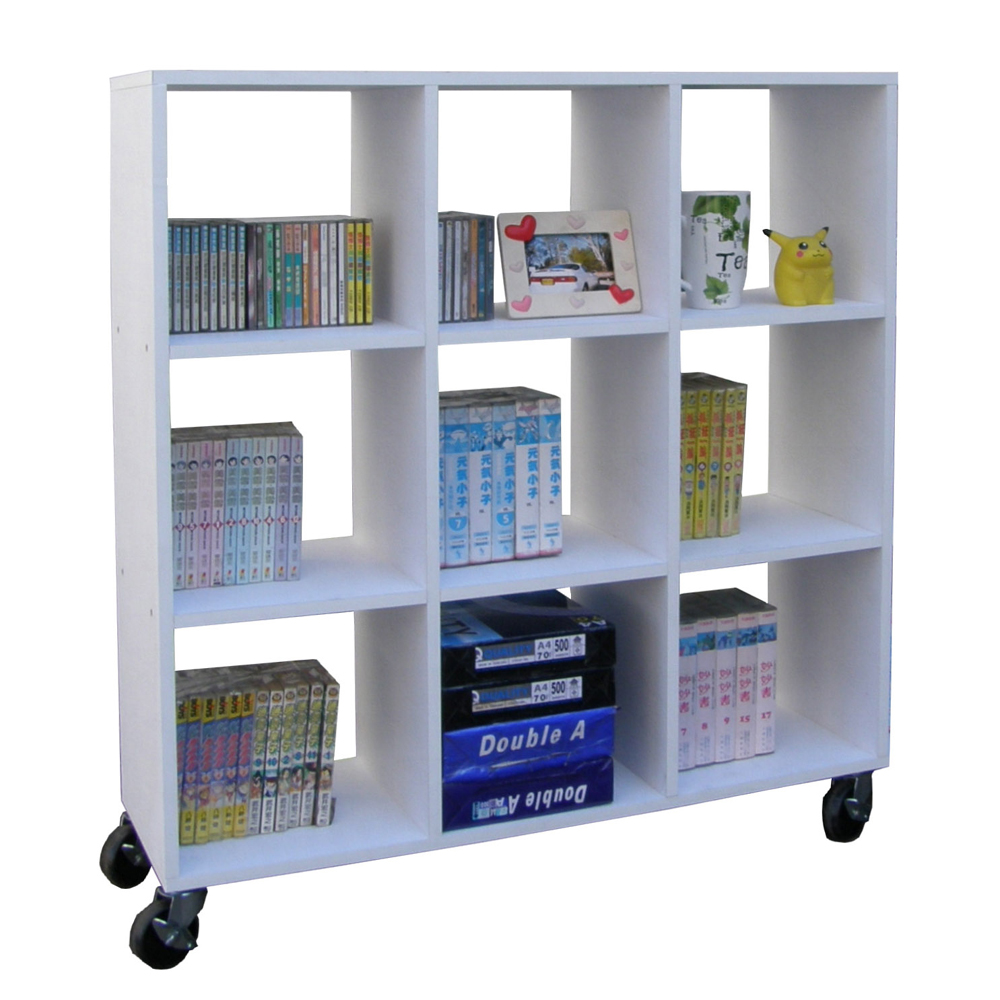 Dr. DIY 中型9格書櫃/收納櫃(附四輪)-素雅白色