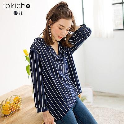 東京著衣-優雅條紋開襟修身上衣-共二色