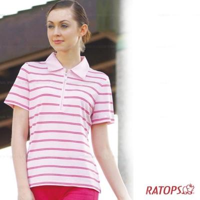 【瑞多仕】女款 平織布領POLO衫_粉紅條紋 DB8192 V1
