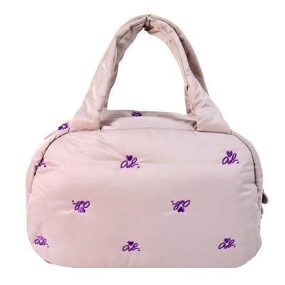 agnes b. ab heart 刺繡舖棉波士頓包(粉紫)