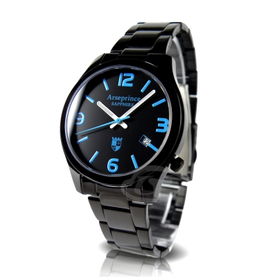 Arseprince 迷戀風情中性錶-黑x藍時標/32mm
