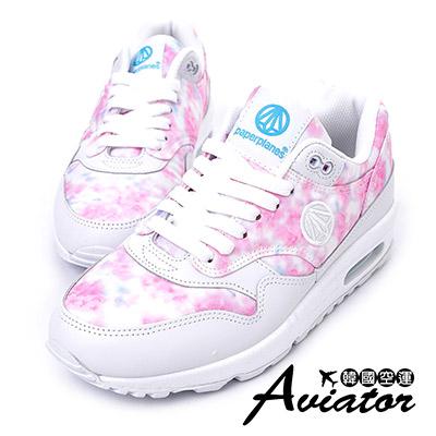 Aviator*韓國空運-韓國品牌拼接流行弧線氣墊舒適運動鞋-桃