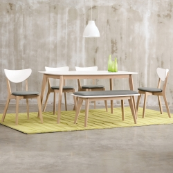 Bernice-諾維雅北歐風餐桌椅組(一桌二椅一長凳)120x75x75cm