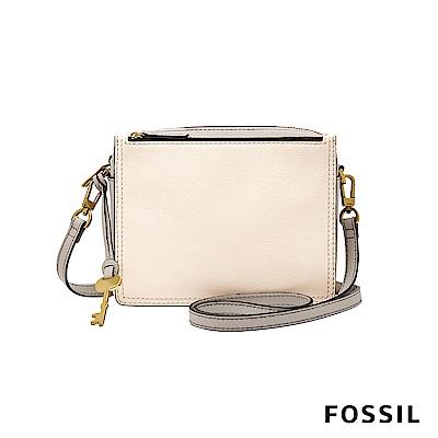 FOSSIL CAMPBELL 柔軟真皮多夾層小方包-卡其/灰白