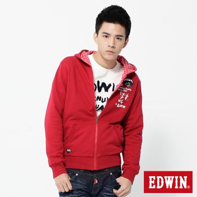 EDWIN-江戶勝限量-點點雙面穿連帽拉T-男款-紅色