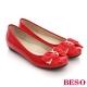 BESO 優雅極簡 鏡面柔軟真皮結飾平底鞋