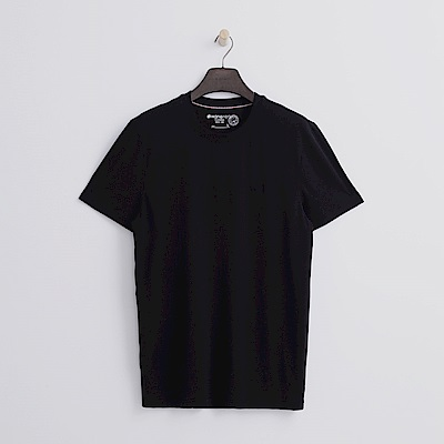 Hang Ten - 男裝 - 有機棉 基本圓領T恤-黑色