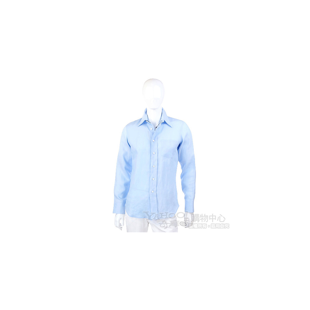PRADA 水藍色素面長袖襯衫
