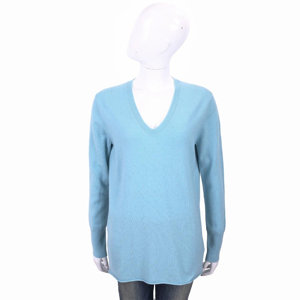 ALLUDE 喀什米爾天藍色星空鑽飾V領針織羊毛衫