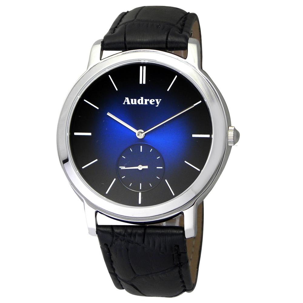 Audrey 歐德利 學院風格 小秒圈時尚腕錶(AUM5653)-藍黑漸層/40mm
