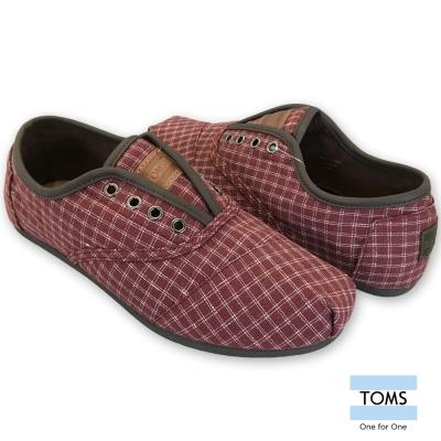 TOMS 格紋綁帶休閒鞋-男款(紅)