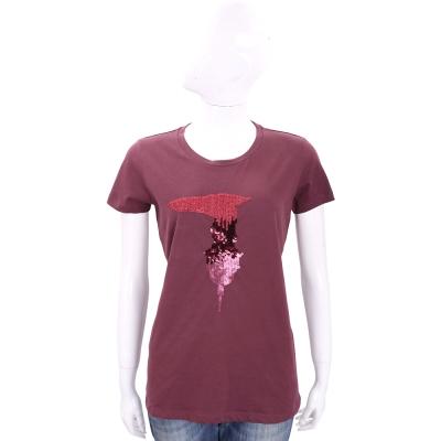 TRUSSARDI 棗紅色亮片LOGO棉質短袖T恤