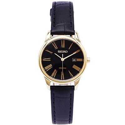 SEIKO 金色優雅款女錶(SXDG32P1)-黑x金框/28mm